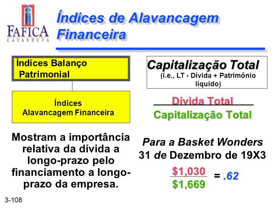 3-108 Índices de Alavancagem Financeira Capitalização Total Dívida Total Capitalização Total Para a Basket Wonders 31 de Dezembro de 19X3 Capitalizaçã