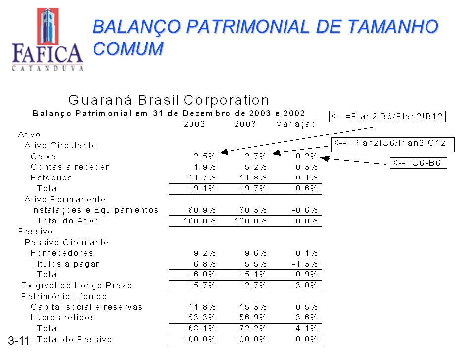 3-11 BALANÇO PATRIMONIAL DE TAMANHO COMUM