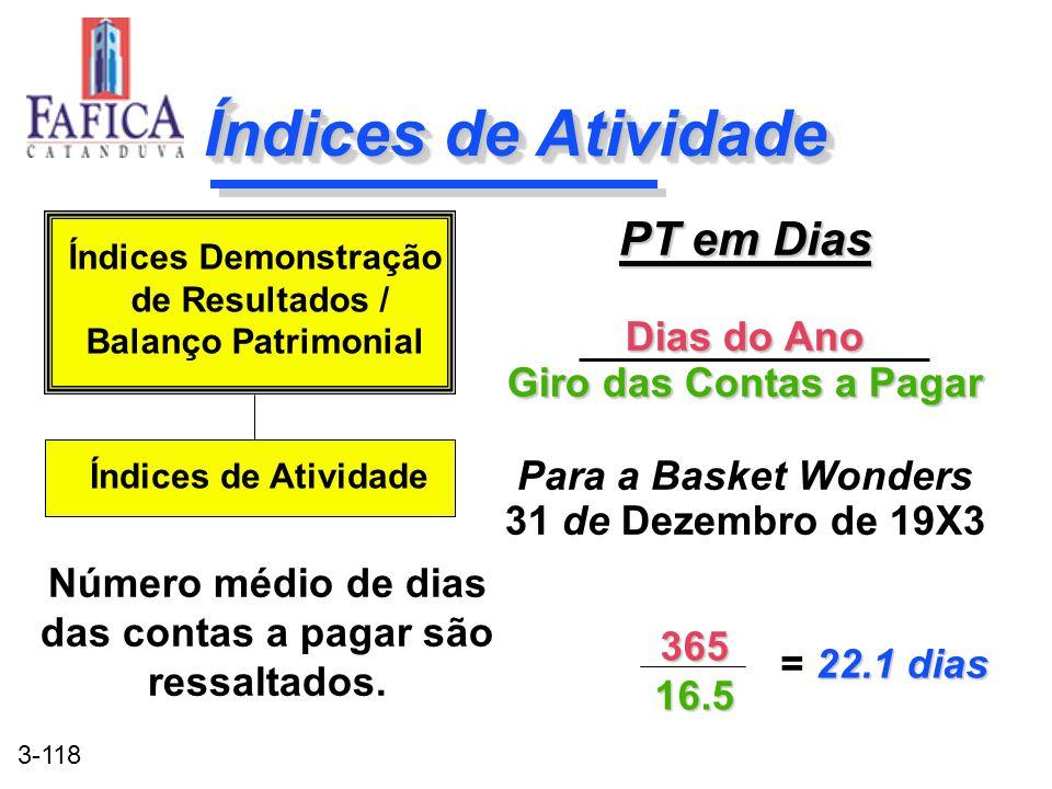 3-118 Índices de Atividade PT em Dias Dias do Ano Giro das Contas a Pagar Para a Basket Wonders 31 de Dezembro de 19X3 PT em Dias Dias do Ano Giro das