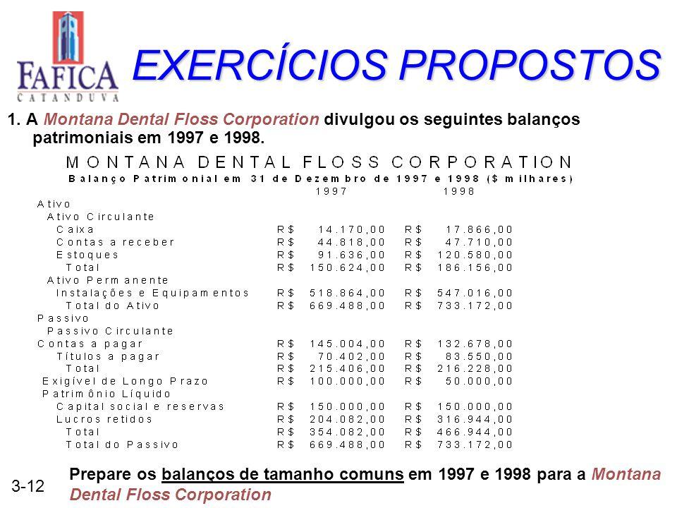 3-12 EXERCÍCIOS PROPOSTOS 1. A Montana Dental Floss Corporation divulgou os seguintes balanços patrimoniais em 1997 e 1998. Prepare os balanços de tam