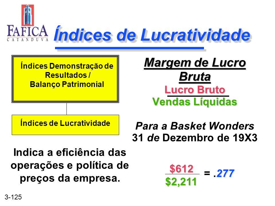 3-125 Índices de Lucratividade Margem de Lucro Bruta Lucro Bruto Vendas Líquidas Para a Basket Wonders 31 de Dezembro de 19X3 Margem de Lucro Bruta Lu