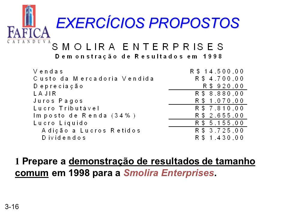 3-16 EXERCÍCIOS PROPOSTOS 1 Prepare a demonstração de resultados de tamanho comum em 1998 para a Smolira Enterprises.