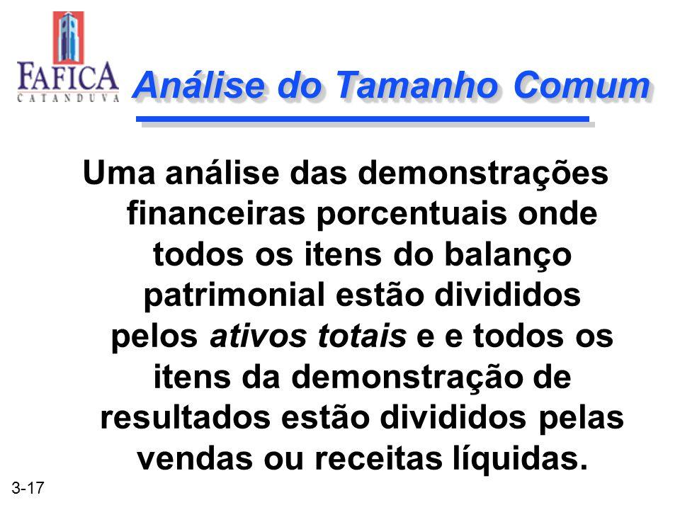 3-17 Análise do Tamanho Comum Uma análise das demonstrações financeiras porcentuais onde todos os itens do balanço patrimonial estão divididos pelos a