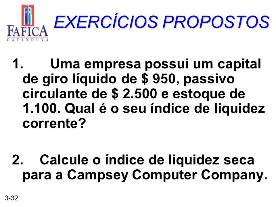 3-32 EXERCÍCIOS PROPOSTOS 1. Uma empresa possui um capital de giro líquido de $ 950, passivo circulante de $ 2.500 e estoque de 1.100. Qual é o seu ín