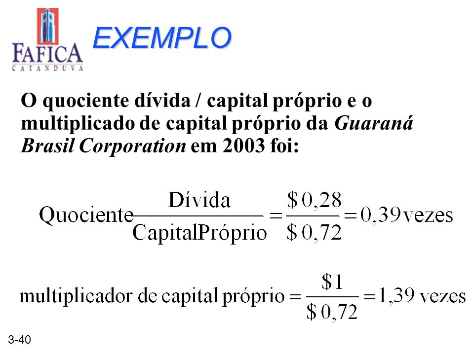 3-40 EXEMPLO O quociente dívida / capital próprio e o multiplicado de capital próprio da Guaraná Brasil Corporation em 2003 foi: