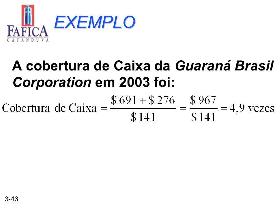 3-46 EXEMPLO A cobertura de Caixa da Guaraná Brasil Corporation em 2003 foi: