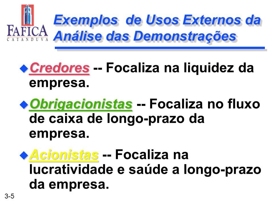 3-5 Exemplos de Usos Externos da Análise das Demonstrações u Credores u Credores -- Focaliza na liquidez da empresa. u Obrigacionistas u Obrigacionist