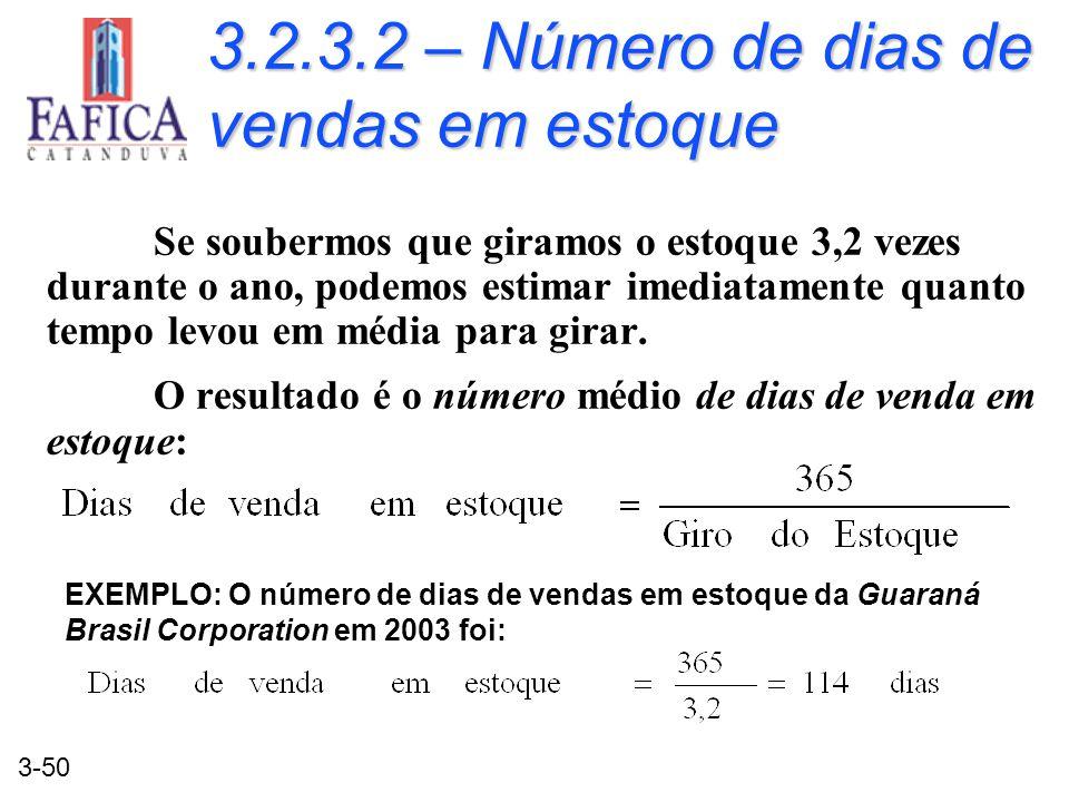 3-50 3.2.3.2 – Número de dias de vendas em estoque Se soubermos que giramos o estoque 3,2 vezes durante o ano, podemos estimar imediatamente quanto te