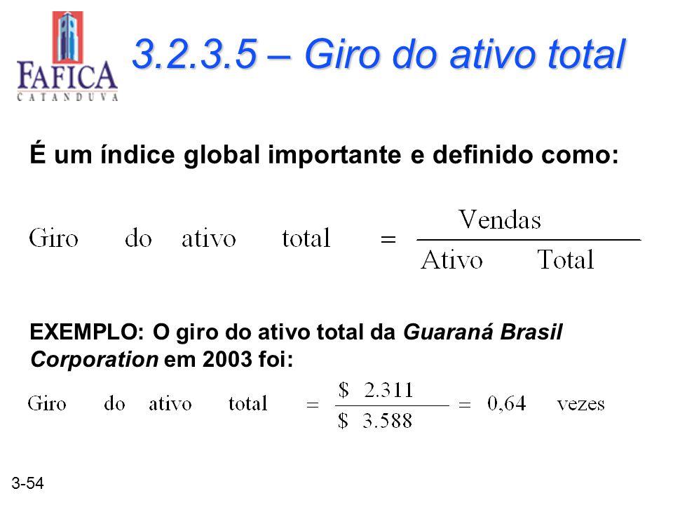 3-54 3.2.3.5 – Giro do ativo total É um índice global importante e definido como: EXEMPLO: O giro do ativo total da Guaraná Brasil Corporation em 2003