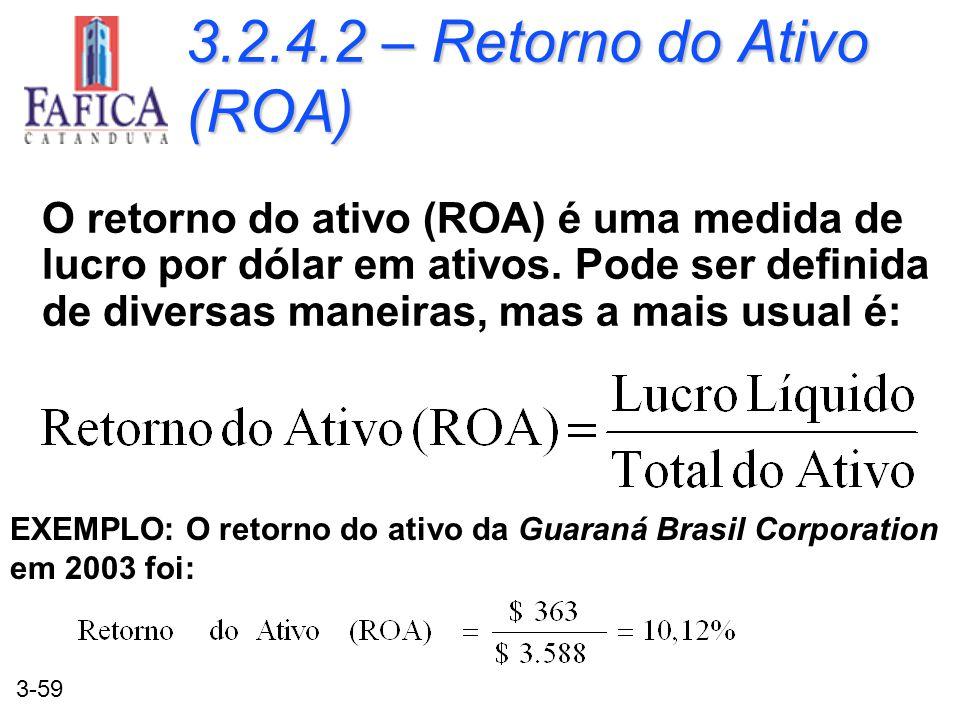 3-59 3.2.4.2 – Retorno do Ativo (ROA) O retorno do ativo (ROA) é uma medida de lucro por dólar em ativos. Pode ser definida de diversas maneiras, mas
