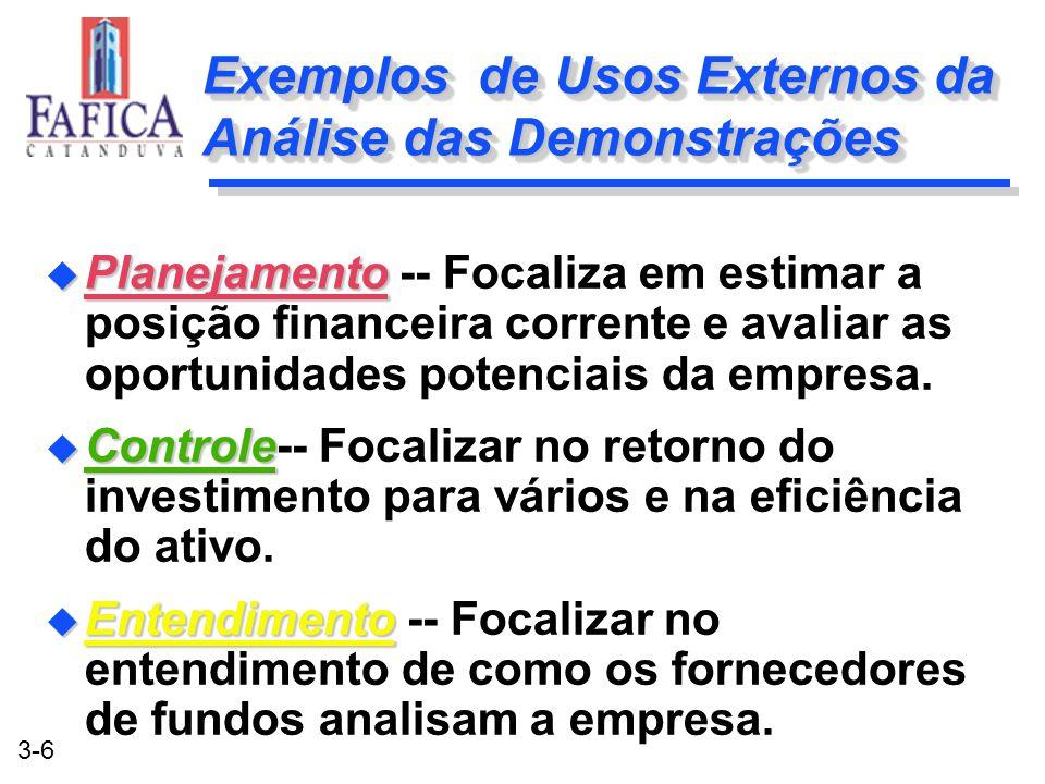 3-6 Exemplos de Usos Externos da Análise das Demonstrações u Planejamento u Planejamento -- Focaliza em estimar a posição financeira corrente e avalia