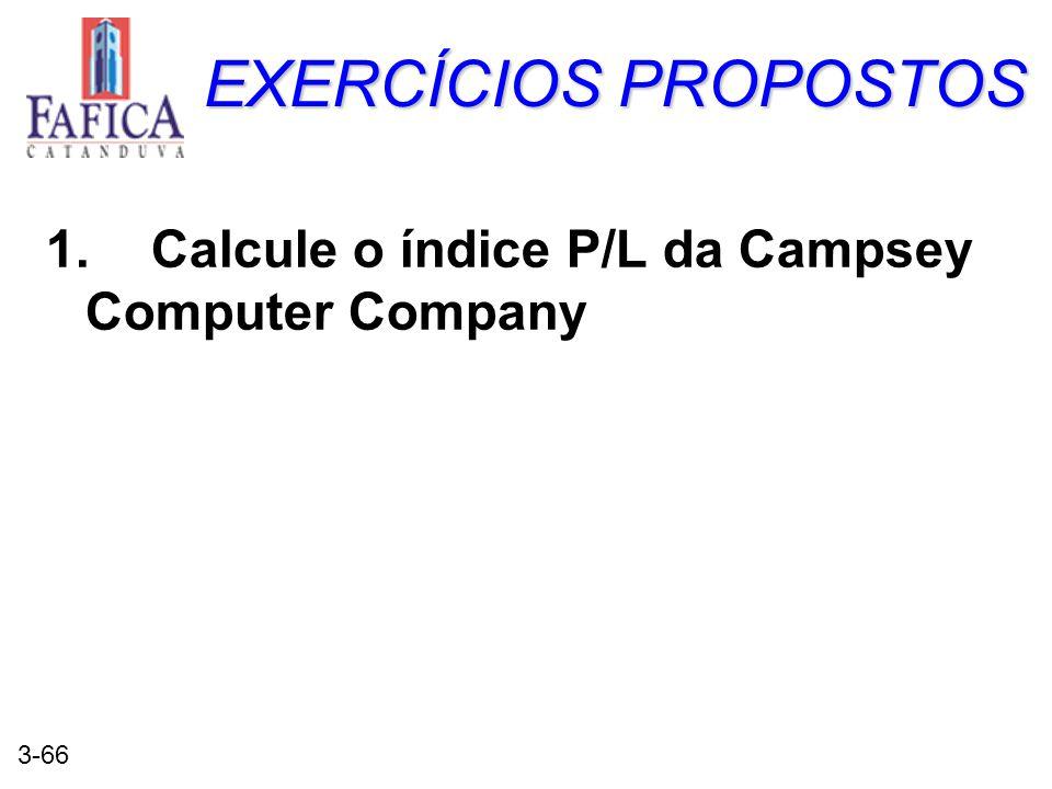 3-66 EXERCÍCIOS PROPOSTOS 1.Calcule o índice P/L da Campsey Computer Company