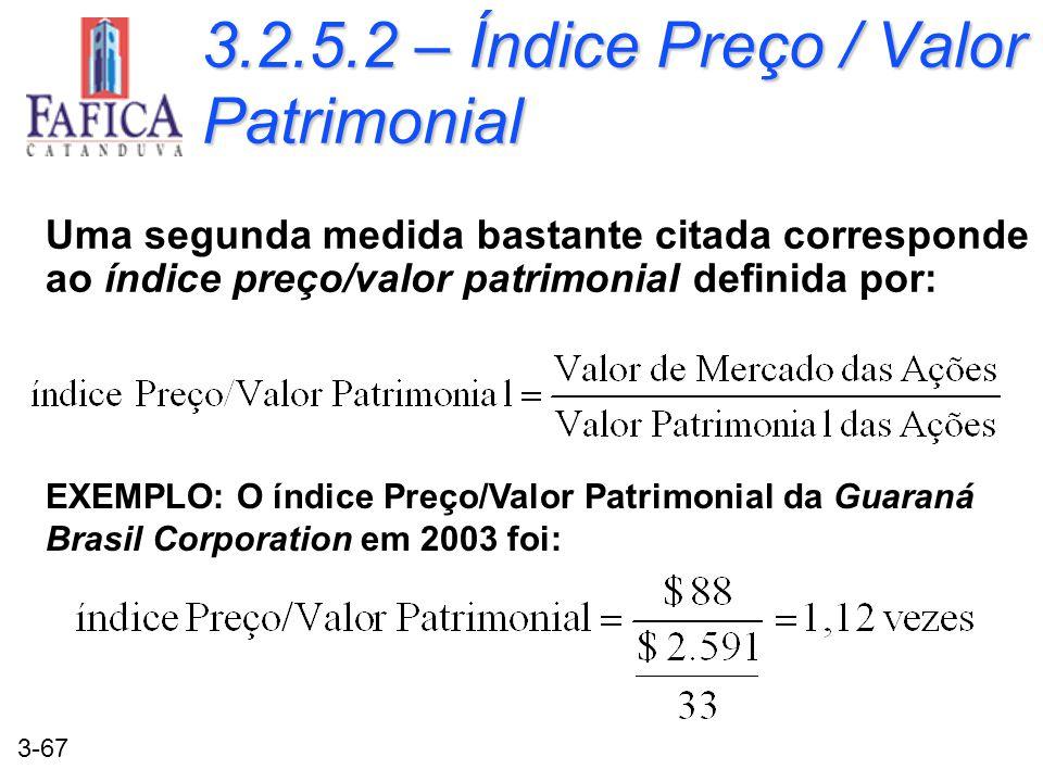 3-67 3.2.5.2 – Índice Preço / Valor Patrimonial Uma segunda medida bastante citada corresponde ao índice preço/valor patrimonial definida por: EXEMPLO