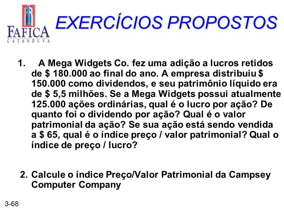 3-68 EXERCÍCIOS PROPOSTOS 1. A Mega Widgets Co. fez uma adição a lucros retidos de $ 180.000 ao final do ano. A empresa distribuiu $ 150.000 como divi