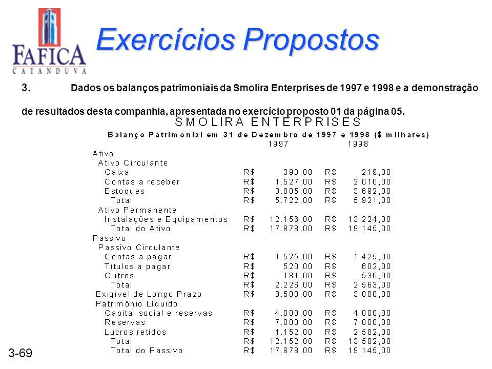 3-69 Exercícios Propostos 3. Dados os balanços patrimoniais da Smolira Enterprises de 1997 e 1998 e a demonstração de resultados desta companhia, apre