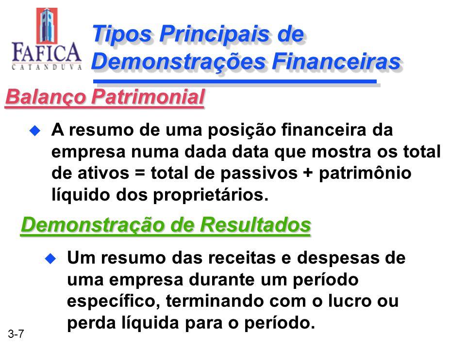 3-7 Tipos Principais de Demonstrações Financeiras Demonstração de Resultados u Um resumo das receitas e despesas de uma empresa durante um período esp