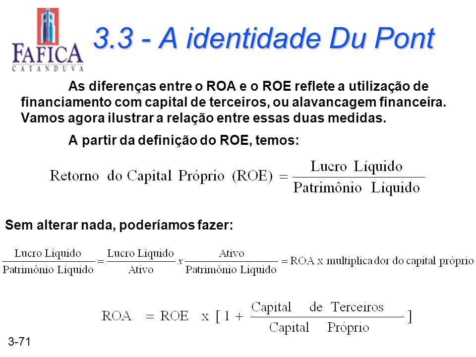 3-71 3.3 - A identidade Du Pont As diferenças entre o ROA e o ROE reflete a utilização de financiamento com capital de terceiros, ou alavancagem finan