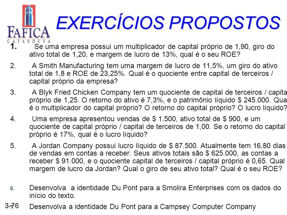 3-76 EXERCÍCIOS PROPOSTOS 1. Se uma empresa possui um multiplicador de capital próprio de 1,90, giro do ativo total de 1,20, e margem de lucro de 13%,