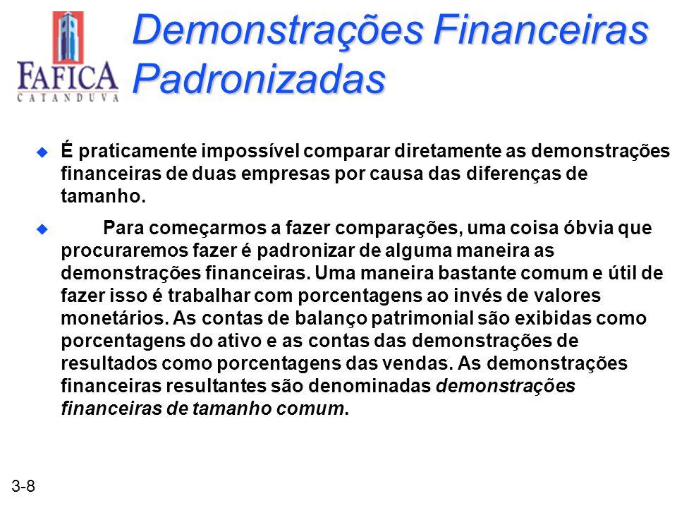 3-8 Demonstrações Financeiras Padronizadas u É praticamente impossível comparar diretamente as demonstrações financeiras de duas empresas por causa da