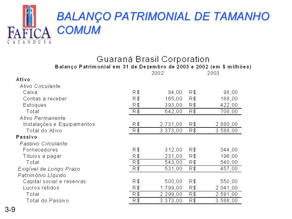 3-9 BALANÇO PATRIMONIAL DE TAMANHO COMUM
