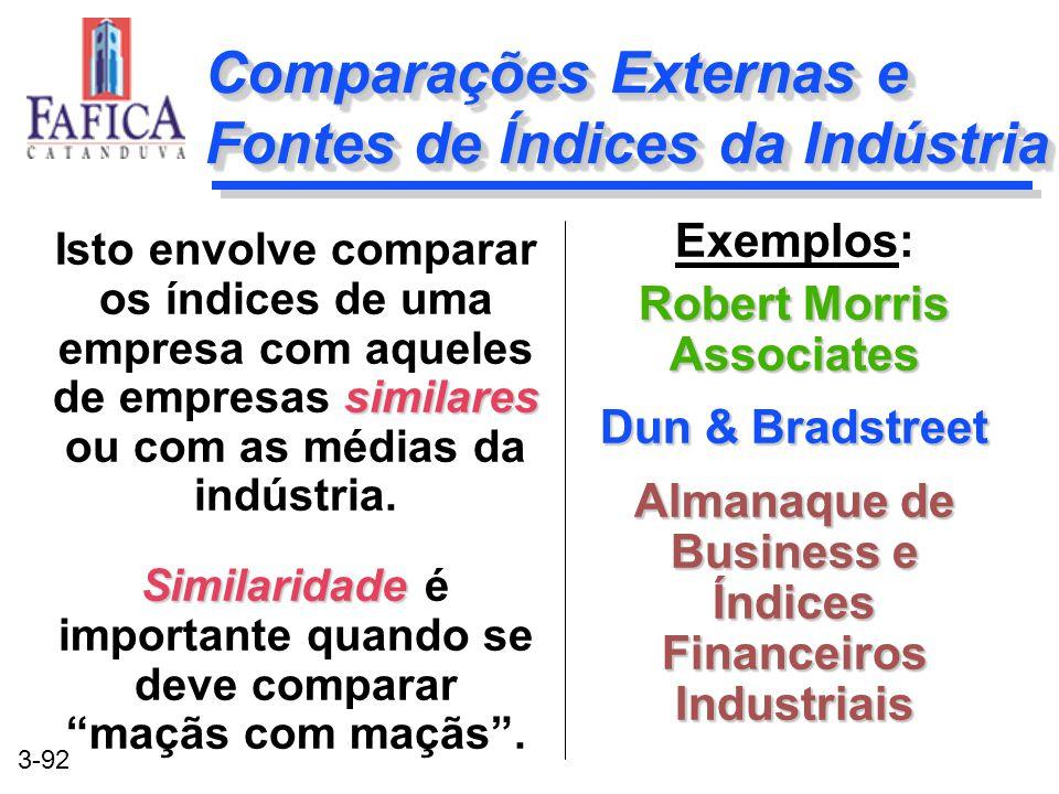 3-92 Comparações Externas e Fontes de Índices da Indústria Exemplos: Robert Morris Associates Dun & Bradstreet Almanaque de Business e Índices Finance