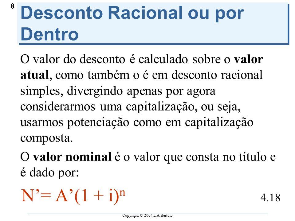 Copyright © 2004 L.A.Bertolo 8 Desconto Racional ou por Dentro O valor do desconto é calculado sobre o valor atual, como também o é em desconto racion