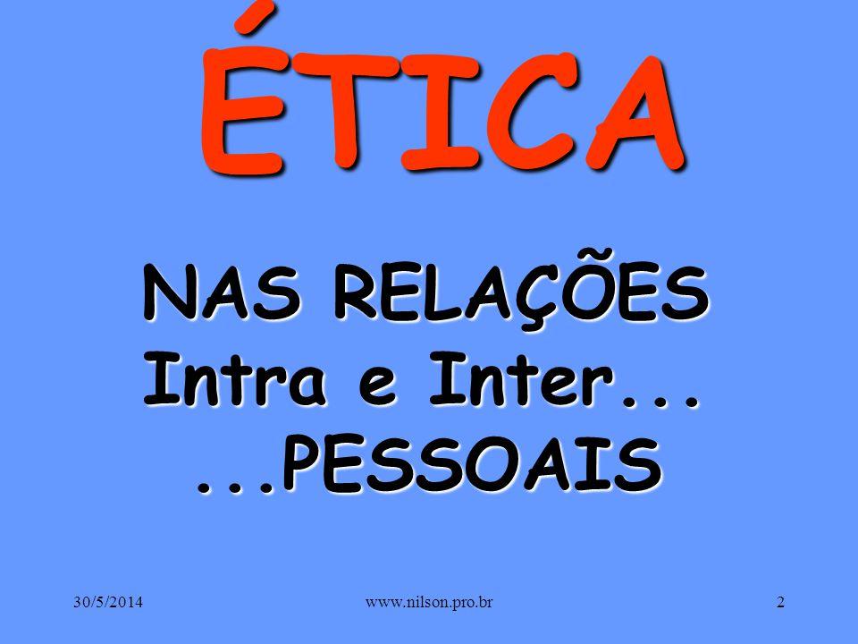 PESSOAS ÉTICA Humanizando as Relações ÉTICA Humanizando as Relações 30/5/20141www.nilson.pro.br