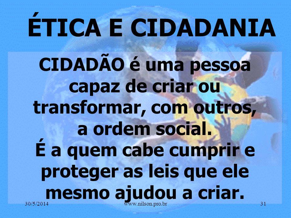 ÉTICA & TRABALHO É A EXPRESSÃO DO AMOR QUE SE PODE VER... 30/5/201430www.nilson.pro.br