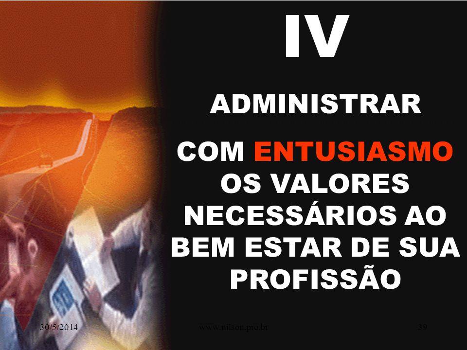 III ADMINISTRAR PRÓPRIA FORMAÇÃO E ENRIQUECIMENTO CONTÍNUO. CONCEITOS E TECNOLOGIAS 30/5/201438www.nilson.pro.br