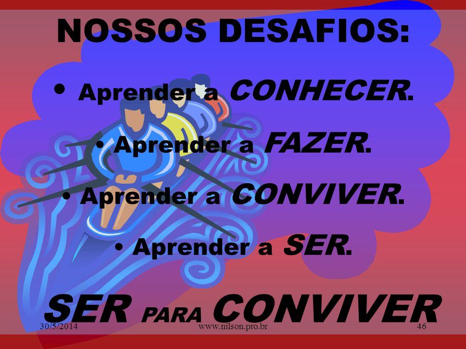 SOMENTE CONVIVENDO COM AS DIFERENÇAS, OBTEREMOS MELHORES RESULTADOS INDIVIDUAIS E COLETIVOS. 30/5/201445www.nilson.pro.br