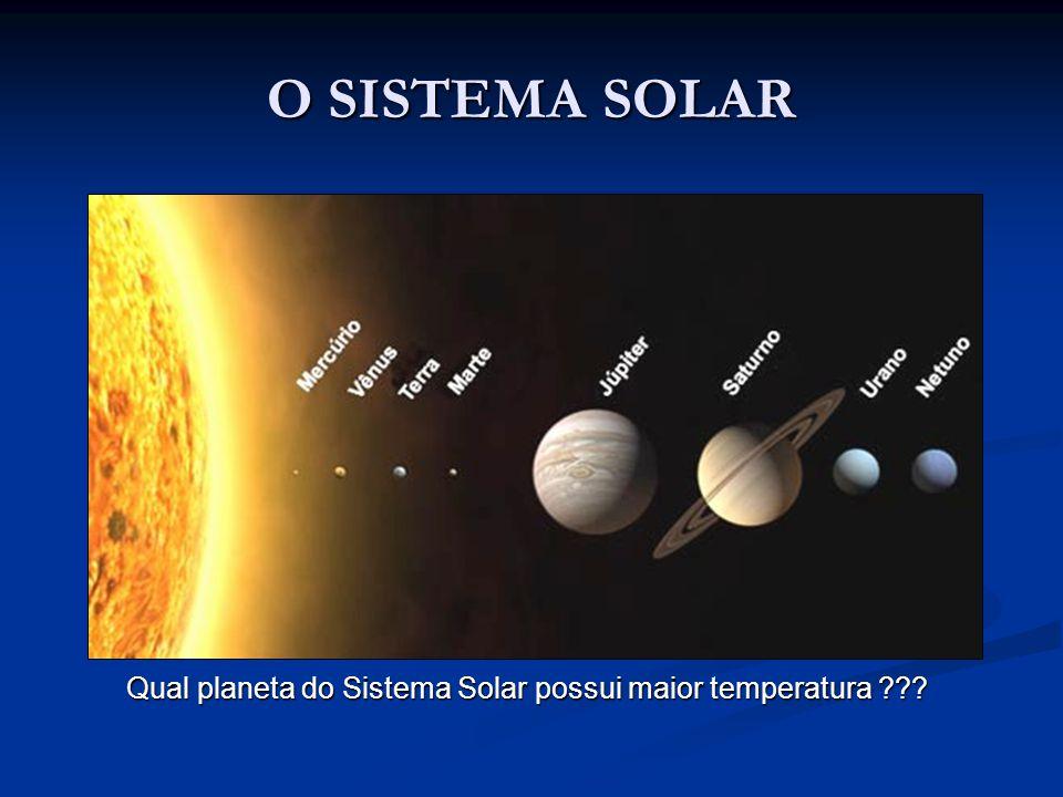 O SISTEMA SOLAR Qual planeta do Sistema Solar possui maior temperatura ???