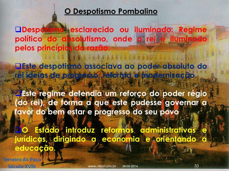 Terreiro do Paço Século XVIII O Despotismo Pombalino Despotismo esclarecido ou iluminado: Regime político do absolutismo, onde o rei é iluminado pelos