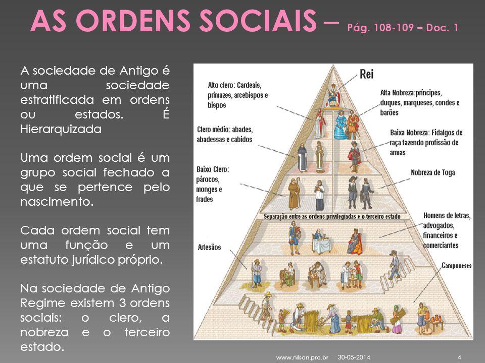 A sociedade de Antigo é uma sociedade estratificada em ordens ou estados. É Hierarquizada Uma ordem social é um grupo social fechado a que se pertence