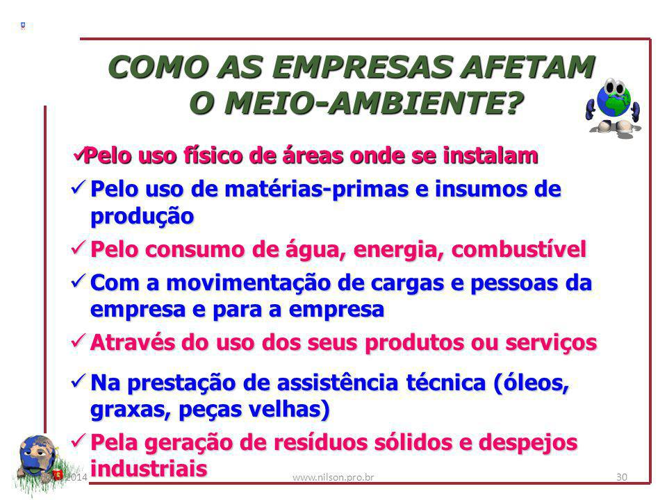 AS EMPRESAS E O MEIO-AMBIENTE 30/5/201429www.nilson.pro.br