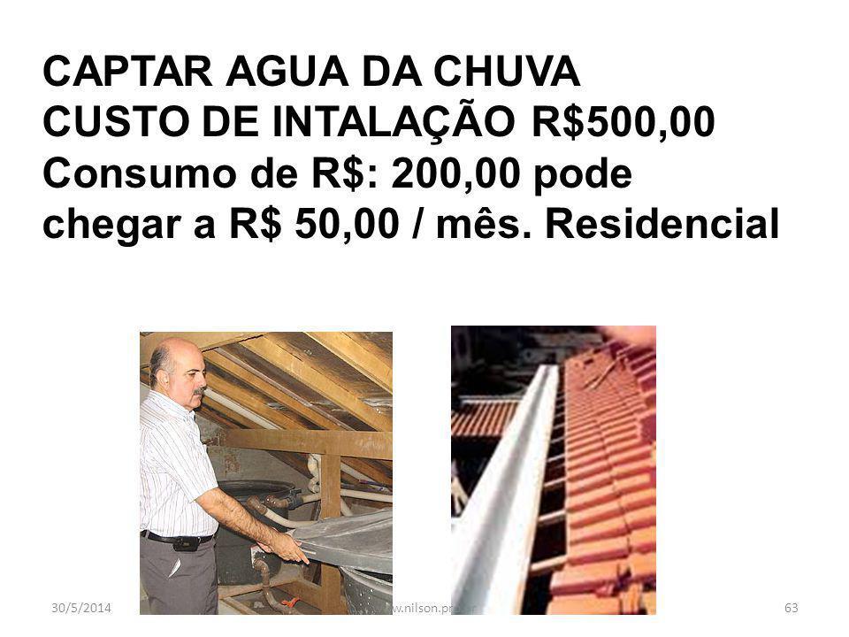 AQUECEDOR SOLAR, EMPRESARIAL E RESIDENCIAL 30/5/201462www.nilson.pro.br