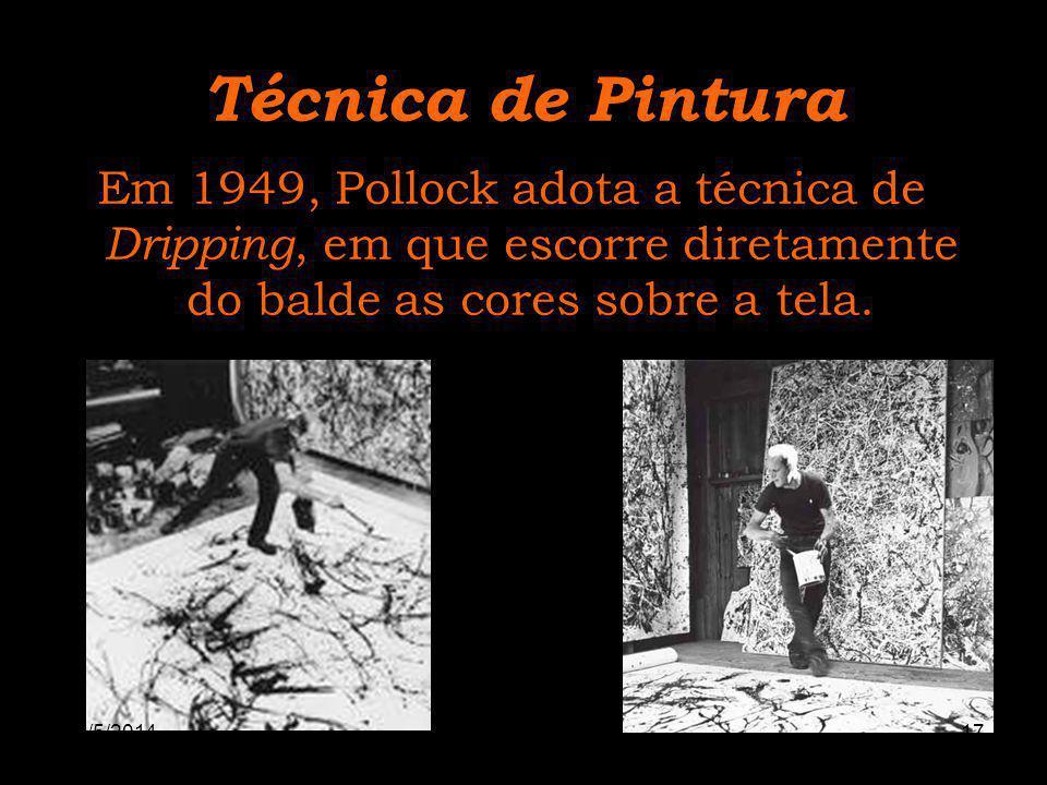 Técnica de Pintura Em 1949, Pollock adota a técnica de Dripping, em que escorre diretamente do balde as cores sobre a tela. 30/5/201417www.nilson.pro.