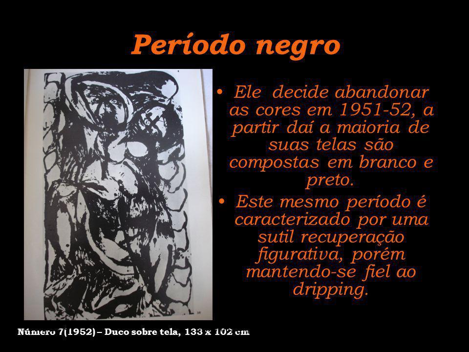 Período negro Ele decide abandonar as cores em 1951-52, a partir daí a maioria de suas telas são compostas em branco e preto. Este mesmo período é car