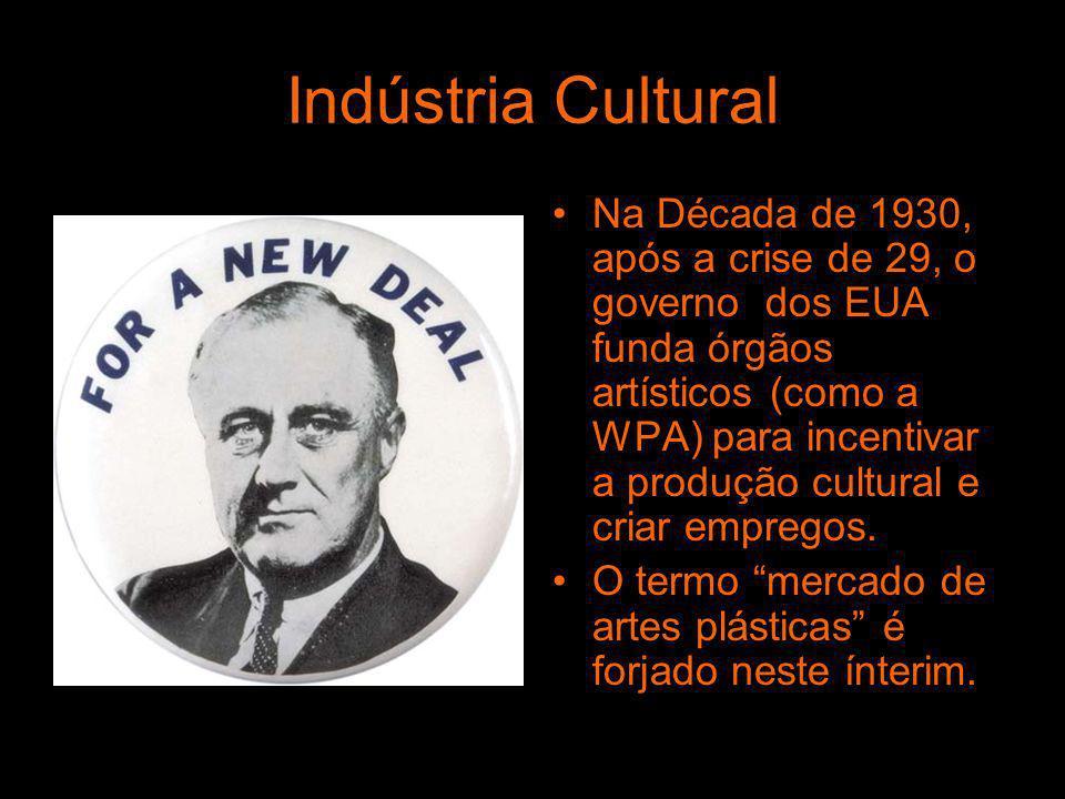 Indústria Cultural Na Década de 1930, após a crise de 29, o governo dos EUA funda órgãos artísticos (como a WPA) para incentivar a produção cultural e