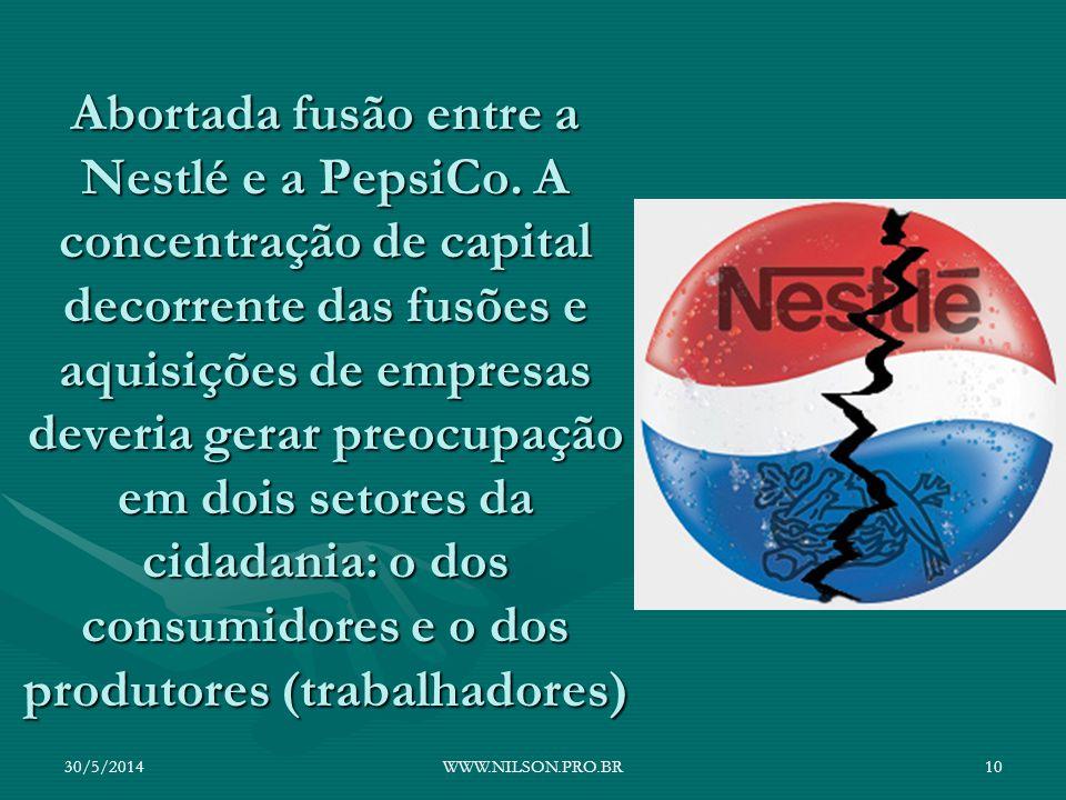 Abortada fusão entre a Nestlé e a PepsiCo. A concentração de capital decorrente das fusões e aquisições de empresas deveria gerar preocupação em dois
