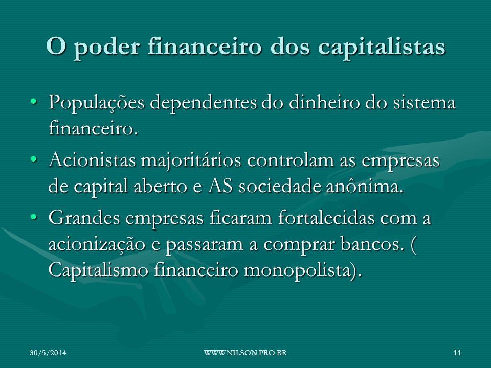 O poder financeiro dos capitalistas Populações dependentes do dinheiro do sistema financeiro.Populações dependentes do dinheiro do sistema financeiro.