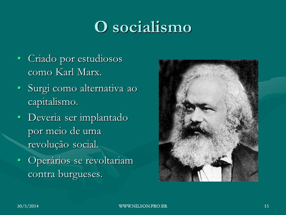 O socialismo Criado por estudiosos como Karl Marx.Criado por estudiosos como Karl Marx. Surgi como alternativa ao capitalismo.Surgi como alternativa a