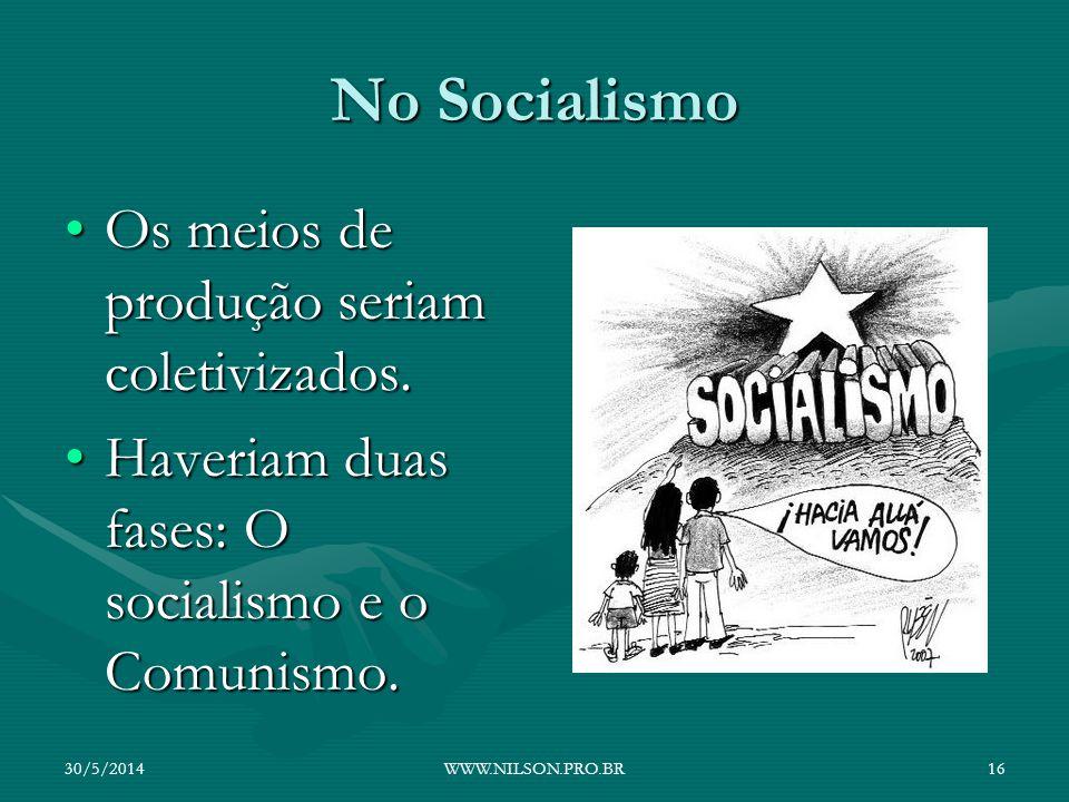 No Socialismo Os meios de produção seriam coletivizados.Os meios de produção seriam coletivizados. Haveriam duas fases: O socialismo e o Comunismo.Hav