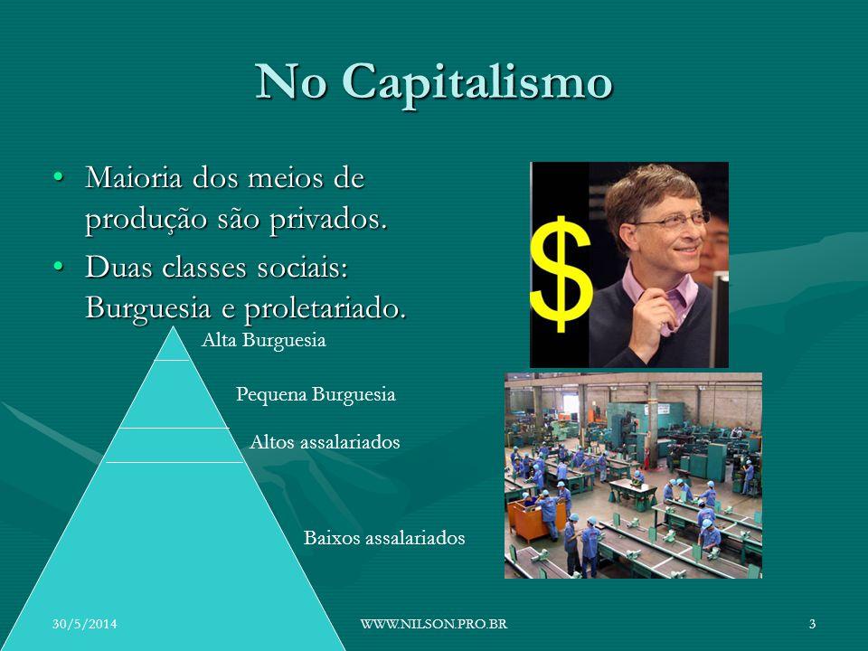 No Capitalismo Maioria dos meios de produção são privados.Maioria dos meios de produção são privados. Duas classes sociais: Burguesia e proletariado.D