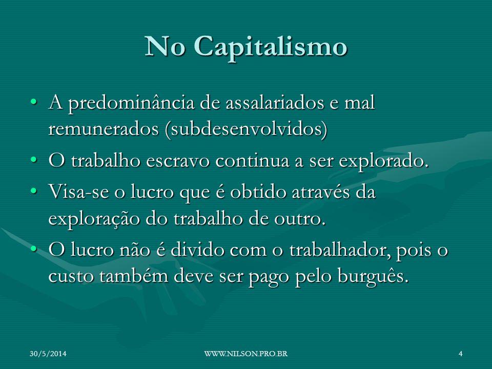 No Capitalismo A predominância de assalariados e mal remunerados (subdesenvolvidos)A predominância de assalariados e mal remunerados (subdesenvolvidos