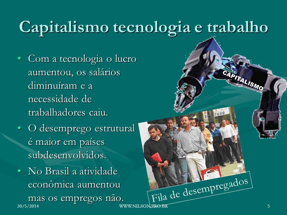 Capitalismo tecnologia e trabalho Com a tecnologia o lucro aumentou, os salários diminuíram e a necessidade de trabalhadores caiu.Com a tecnologia o l