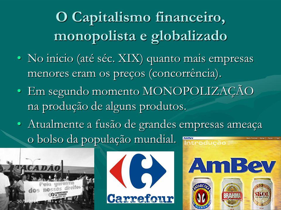 O Capitalismo financeiro, monopolista e globalizado No inicio (até séc. XIX) quanto mais empresas menores eram os preços (concorrência).No inicio (até