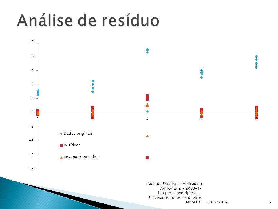 30/5/2014 Aula de Estatística Aplicada à Agricultura – 2008-1- lira.pro.br\wordpress - Reservados todos os direitos autorais.6