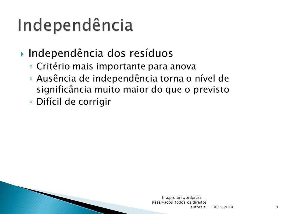 Independência dos resíduos Critério mais importante para anova Ausência de independência torna o nível de significância muito maior do que o previsto Difícil de corrigir 30/5/2014 lira.pro.br\wordpress - Reservados todos os direitos autorais.8