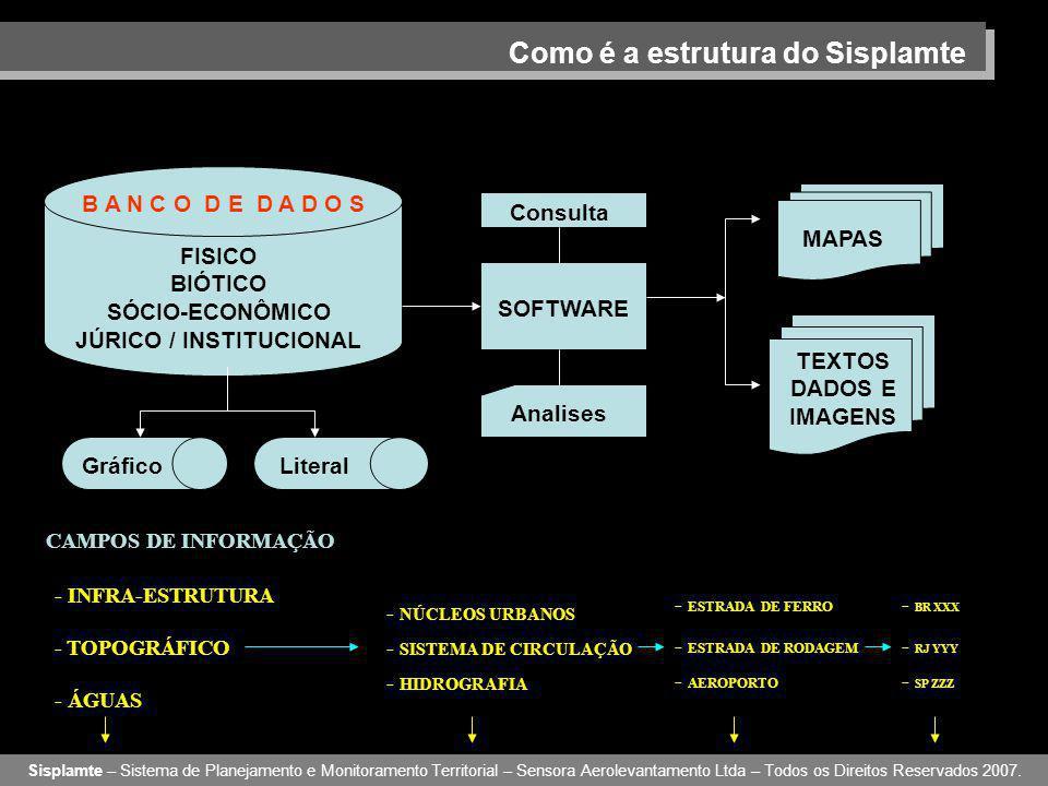 Como é a estrutura do Sisplamte B A N C O D E D A D O S Sisplamte – Sistema de Planejamento e Monitoramento Territorial – Sensora Aerolevantamento Ltda – Todos os Direitos Reservados 2007.