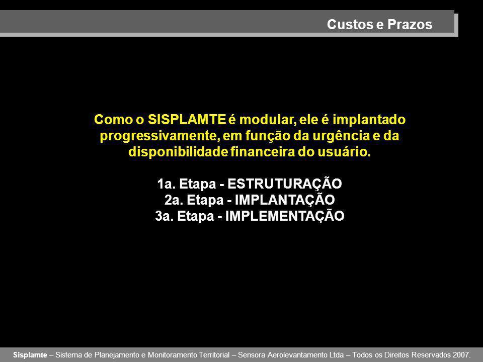 Custos e Prazos Sisplamte – Sistema de Planejamento e Monitoramento Territorial – Sensora Aerolevantamento Ltda – Todos os Direitos Reservados 2007. C